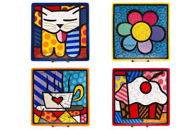 romero britto romero britto set of 4 decorative square side plates 8