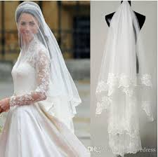 wedding veil styles one layer tulle 2018 bridal veils lace applique edge