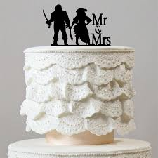 pirate wedding cake topper mr mrs hook cosplay theme funny