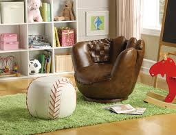 Leather Kids Chair Crown Mark Baseball Glove Kids Faux Leather Chair And Ottoman