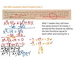 Quadratic Word Problems Worksheet With Answers Hw 66 Quadratic Word Problems Day 2 Math Algebra Showme