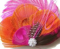 orange mardi gras mardi gras pink and orange peacock feather hair fascinator clip