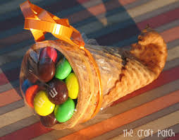 thanksgiving kid treat cornucopia filled with treats instead of