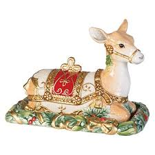 fitz and floyd yuletide reindeer covered butter dish