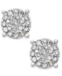 cluster stud earrings diamond cluster stud earrings in sterling silver 1 4 ct t w