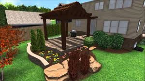 landscape design 3d walkthrough raised patio flagstone walkway