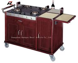 kitchen flambe trolley with double gas burner kitchen cart island