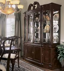 american drew cherry grove breakfront china cabinet in antique
