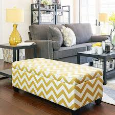 yellow zigzag bench for small living room ideas with grey couch