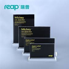 T Shape Desk Reap Mickey Acrylic T Shape Desk Sign Holder Card Display Stand
