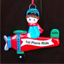 my airplane trip personalized ornaments by