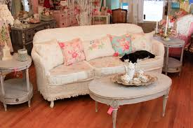 shabby chic sofa slipcovered with vintage chenille bedspreads and