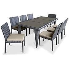 Wicker Patio Dining Sets Amazon Com Urbanfurnishing Net 13 Piece Extendable Modern
