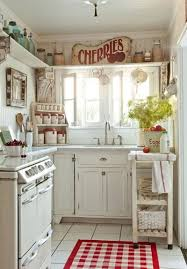 50 fabulous shabby chic kitchens that bowl you over white cottage shabby chic kitchen with pops of red design sunday henrickson for tumbleweed