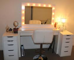white vanity set with lighting and leather swivel adjustable chair
