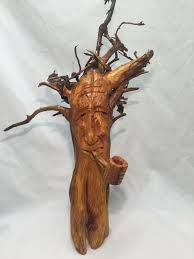 wood sculpture decor carved wood spirit cedar root original home decor