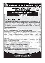 M S University by Ms M Phil M Sc Hons Programs Admissions Notice 2015 16 News