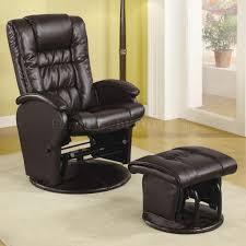swivel glide chair brown vinyl modern swivel glider chair w ottoman