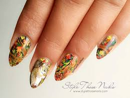 style those nails autumn fall squirrel nailart freehand nail design