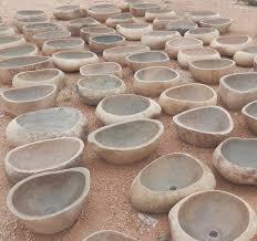 irregular stone vessel sink countertop nature rough surface