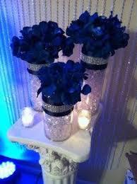royal blue wedding reception centerpiece table