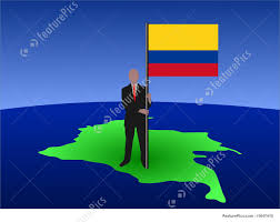 Map Of Colombia Man On Map Of Colombia With Flag Stock Illustration I1647410 At