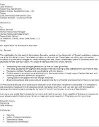 cover letter to recruiter employment cover letters examples for