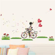 stickers fille chambre romantique fée fille équitation vélo coeur sticker mural pour