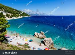 beautiful beach adriatic sea transparent blue stock photo
