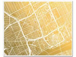 Mi Map Detroit Map Gold Foil Print Gold Foil Map Of Detroit Mi