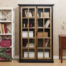 small bookcase with glass doors filling the empty space in our house with wooden bookcases home