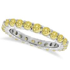 white gold eternity ring fancy yellow canary diamond eternity ring band 14k white gold 1 07 ct
