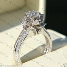 flower engagement rings 2 42ct white cut diamond lotus flower engagement wedding