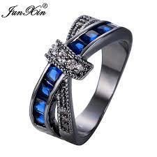 blue amethyst rings images Junxin latest crossed brand design blue male female wedding rings jpg