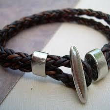 leather bracelet clasp images Antique brown braided leather bracelet with toggle clasp leather jpg
