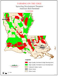 State Of Louisiana Map by Farming On The Edge American Farmland Trust