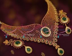 necklace choker design images Nl7827 gold design ruby emerald grand choker necklace bollywood JPG