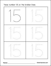 number 15 writing counting and identification printable