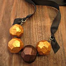 paper mache necklace chunky beaded gold and copper ribbon tie
