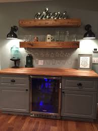 Wet Bar Makeover Rustic Bar With Ikea Cabinets And Beverage Center Bar