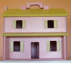 fully furnished wooden dollhouse four rooms folding portable