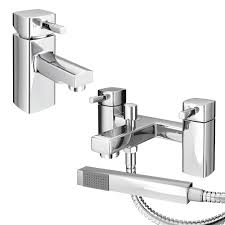 neo minimalist basin and bath shower mixer chrome at victorian