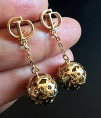 cd earrings christian cd stud gold chain cannage dangle earrings