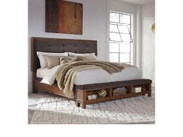 Beige Upholstered Bed Signature Design By Ashley Ralene Queen Upholstered Bed With Bench