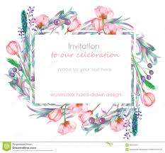 card template with the floral design berries spring flowers and