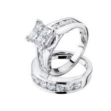 1 carat engagement rings princess cut diamond engagement ring and wedding band set 1 carat