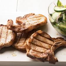 grilled pork chops with cucumber dill salad