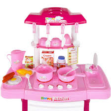 Plastic Toy Kitchen Set Kids Play Set Little Chef Kitchen 25 Piece Pink Outbaxcamping