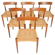 Teak Table And Chairs Set Of Six Arne Hovmand Olsen For Mogens Kold Teak And Paper Cord