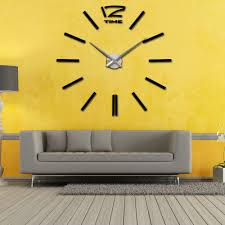 diy mirror effect acrylic glass decal large watch wall clock